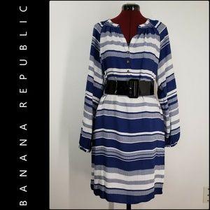 Banana Republic Long Sleeve Stripe Dress Size 12